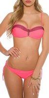 Damen Balconette Bikini mit Deko Netz - Push Up Badeanzug Beachwear-Set Coral Schwarz Weiss Gr. 36 - 44 (36, Neoncoral)