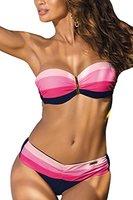 Marko Taylor M-350 Bikini-Set Für Damen, Versteifte Cups, Abnehmbare Träger, Größe M, Dunkelblau-Pink
