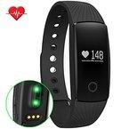 GINSY Fitness Armband Mit Pulsmesser Schlafmonitor Bluetooth Touch Display Sportuhr Smart Wristband Aktivitätstracker für iPhone Samsung IOS Android (Schwarz)