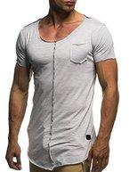 LEIF NELSON Herren oversize T-Shirt Rundhals Basic Shirt LN6288; Grš§e L, Grau