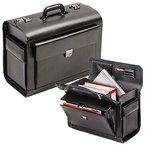 Excl. PILOTENKOFFER ECHT LEDER schwarz groß mit Notebookfach mit Zahlenschloß BLACK LINE 28002
