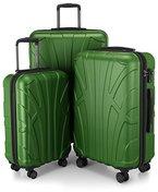 Suitline - 3er Koffer-Set Trolley-Set Rollkoffer Hartschalen-Koffer Reisekoffer, TSA, (55 cm, 66 cm, 76 cm), 100% ABS, Matt, Grün