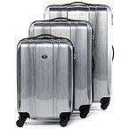 FERGÉ Dreier Kofferset Dijon - 3 Trolley-Hartschalenkoffer mit 4 Rollen - Trolley-Koffer Aluminium-Optik