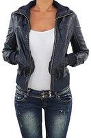 Damen Lederjacke Kunstlederjacke Leder Jacke Damenjacke Jacket Bikerjacke Blouson in vielen Farben S - 3XL Navy Blau M