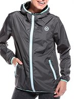 WOLDO Athletic Damen Regenjacke Windbreaker mit Kapuze durchgehender Reißverschluss Seitentaschen wasserdicht atmungsaktiv winddicht slim fit (L, Harper / grau/mint)