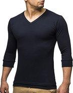 Leif Nelson Basic Herren 3/4 Arm Sweatshirt LN2026 (XXL, Blau)