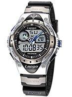Alienwork analogue-digital Armbanduhr Multifunktions-LCD-Armbanduhr Wasserdicht 10ATM Kautschuk silber schwarz plg-388ad-01
