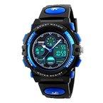 Beswlz Jungen Uhren Multifunktions Dual Time Digital Uhren Alarm Sport wasserdicht Kinder Uhren blau