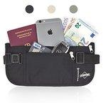 Reise-Bauchtasche flach mit RFID-Blocker - Unauffälliger Geldgürtel - von Globeproof® (schwarz)
