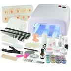 UV Gel Nagelstudio Starter Set Weiß-Nagelset mit Nailart, UV-Lampe und UV Gel ideales Starterset