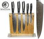 Stallion Damastmesser - Messerset aus Damaststahl mit Messerblock - das ideale Geschenk für Männer und alle Freunde schöner Messer