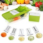 Lifewit Mandoline Slicer Set Gemüsehobel Gemüseschneider Gemüsereibe Küchenhelfer mit Auffangbehälter für Gemüse und Obst aus Edelstahl und ABS Kunststoff