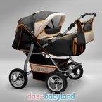 """Akjax """"Gemini"""" Zwillingskinderwagen - Geschwisterwagen - Zwillingsbuggy - Nr.35 graphit / beige / orange"""