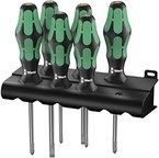 Wera Schraubendrehersatz 335/350/355/6 Kraftform Plus Lasertip + Rack, 6-teilig, 05105622001
