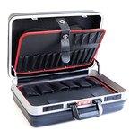 STIER Werkzeugkoffer Basic leer - ABS-Kunststoff Kofferschale stabil & schlagfest I Tragkraft 15 kg mit 30 großen Werkzeugtaschen I Abschließbar mit 2 Schlüsseln