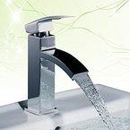 Homelody Chrom Wasserfall Armatur Bad Wasserhahn Einhebel Mischbatterie Badarmatur Waschtischarmatur Waschbeckenarmatur Einhebelmischer Waschtischbatterie für badzimmer