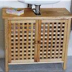 Waschbeckenunterschrank mit 2 Türen Walnussholz Holz Badschrank Badregal Waschtisch Unterschrank Schrank Holzschrank Gitterdesign