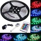 LED Strip Licht Streifen 5m Band Leiste mit 300 LEDs (SMD 3528) inkl. Netzteil & Fernbedienung