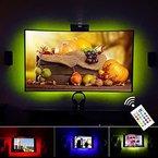 """VILSOM USB Powered LED Bias-Beleuchtung für TV-Bildschirm und PC-Monitor, RGB ändern Farbstreifen -Kit (40 """"-60"""" TV Hinterleuchtung 3 Seiten leuchten)"""
