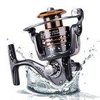 Plusinno® Angelrolle Spinnrolle Süßwasser Salzwasser mit 5,2: 1 Gangsverhältnis Metallgehäuse links/rechts austauschbar Klappgriff Spinnrolle Angelrolle (Angelrolle)