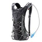 Trinkrucksack Hydrationspack mit 2L Trinkblase für Joggen, Wandern, Radfahren, Camping und Bergsteigen (Grau)