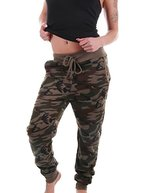 Fashion Damen Fleece Camouflage Jogginghose - Sweathose Freizeithose - Boyfriendhose - (34-42), 090-122 (L-(36/38))