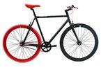 FabricBike-Fixie Bike, single speed fahrrad, fixed gear, black Hi-Ten steel frame, 10kg (Matte Black & Red, L-58)