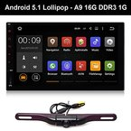 "7"" 2 Din Auto Pad Tablet PC GPS Navi Android 5.1 Navigation System Autoradio WiFi mit Rückfahrkamera Bluetooth Hands Free OBD2 DDR3 RAM 1G 16G Nand 1024*600 Multi-touch"