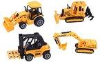 ToyZe® 5-Zoll Metallguss Baufahrzeugset, Bulldozer, Gabelstapler, Frontladetraktor und Bagger, 4-er Pack (Alter 3+)
