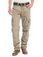 Timezone Herren Straight Leg Hose BenitoTZ cargo pants incl. belt, Gr. W36/L34, Beige (dirty sand 6166)