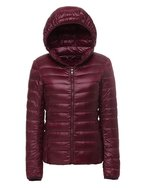 CHERRY CHICK Women's Packable Hooded Down Jacket Large Burgundy