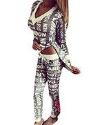 Damen V-Ausschnitt Zipper Hausanzug Sport Anzug Trainingsanzug Pants+ Sweatshirt Jogginganzug Grau M