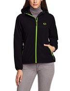 Ultrasport Damen Softshell Jacke mit Kapuze Estelle, schwarz/grün, S, 10049