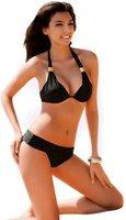 sexy Neckholder Push-up Bikini schwarz Damen Bademode, L