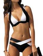 Aidonger Damen Elegant Weiß und Schwarz Bikini-Sets Neckholder Push-Up Bademode Zweiteilig Strandmode (XL / 38-40 , Weiß-Schwarz )