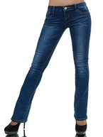 L768 Damen Jeans Hose Damenjeans Bootcut Schlag Schlaghose Normaler Bund, Farben:Blau;Größen:36 (S)