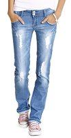 Bestyledberlin Damen Jeans Hosen, Hüftjeans zerrissen j28x 42/XL