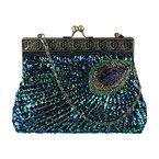 Ecosusi Antike Perlen Sequin Türkis Sunburst Kupplungs-Abend-Handtasche grün