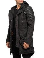 Burocs Herren Parka Winterjacke Gesteppt Lang Jacke Schwarz BR91, Farbe:Schwarz, Größe:XXL