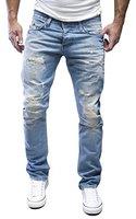 AMICA by MERISH Herren Jeans Straight Fit Destroyed Blue Jeans J1154 Hellblau 33/32