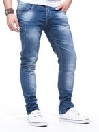LEIF NELSON Herren Jeanshose Jeans Hose Chino low rise Skinny Slim Fit (W36/L34, Blau)