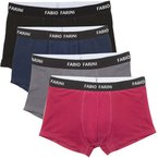 4er Pack Fabio Farini Boxershorts Baumwolle Herren Unterwäsche Pants, Größe:L;Farbe:1x Rot 1x Schwarz 1x Grau 1x Blau