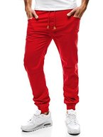 OZONEE Herren Jogger Chinohose Chino Jogg Hose Sporthose Jogginghose Fitness RP-655 ROT S