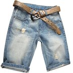 Valuker Herren Denim Bermuda Jeans Shorts Sommer Kurze Hose hellblau Ohne Guertel W44
