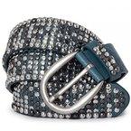 CASPAR Damen Vintage Gürtel mit Nieten / Nietengürtel Teil Leder - viele Farben - GU278, Länge:85;Farbe:jeans blau