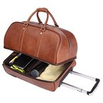 Leathario Herren Handgepäck Reisetasche Vintage Rindsleder Koffer mit Rollen