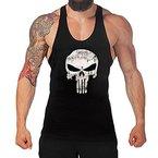 West See Herr Mann Tops Tank Tankshirt Vintage Skull Totenkopf T-Shirt Weste Muscleshirt Print (EU M, Schwarz)