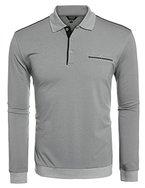 Coofandy Herren Longsleeve Sweatshirt Freizeit Pullover Pulli Sweats Jersey Shirt Poloshirt T-Shirt Langarmshirt mit Brusttasche Polokragen Grau M