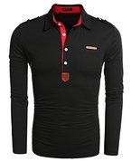 COOFANDY Herren Poloshirt elegante Langarmshirts slim fit Langarmpolo für Männer