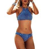 Arrowhunt Damen Mädchen Neckholder Push Up Sport Bikini Set Badeanzüge